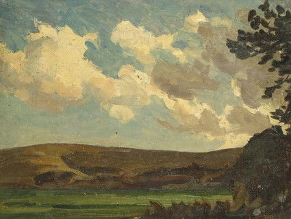 "Oil painting from the Fine Art collection. ""View of Hill and Field at Dusk"" by William Gunning King, showing a landscape with low horizon at dusk."
