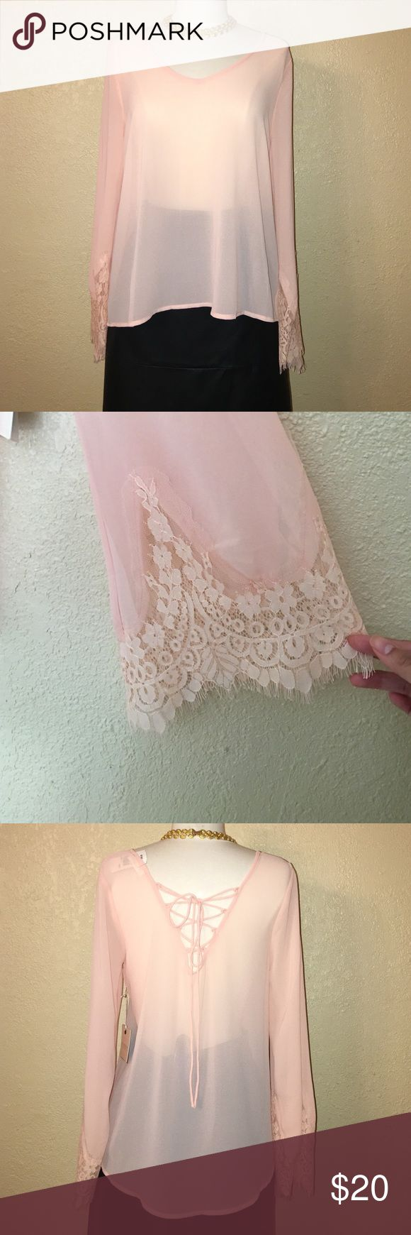 Peach Top See through top that can be worn with a Cami or bralette underneath. Flared lace sleeves for a hobo chic look. Top also has trendy laced detail in back. Blu Pepper Tops Blouses
