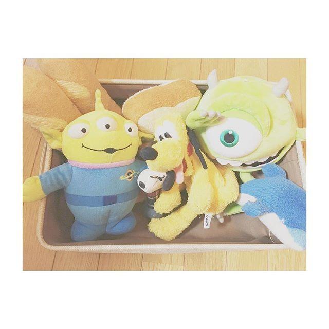 . おもちゃ箱🐶 . . #愛犬 #coco #リトルグリーンメン #プルート #マイク #イルカ #スヌーピー #パン #おもちゃ #おもちゃ箱