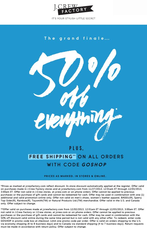 Pinned December 2nd: Everything is 50% off at #J.Crew Factory locations, or online via promo code GOSHOP #coupon via The Coupons App