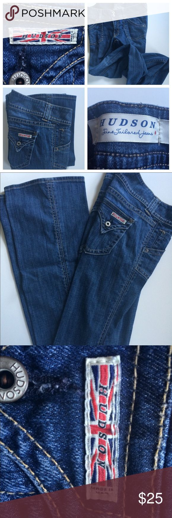 Hudson Jeans Size 30 Bootleg Hudson Jeans Size 30 Bootleg Cut. Great Jeans. Excellent condition. Double pockets in front; Classic Union Jack Hudson symbol on back pocket. Perfect for everything from dressy casual night out to eating Thai food on the couch. Hudson Jeans Jeans Boot Cut
