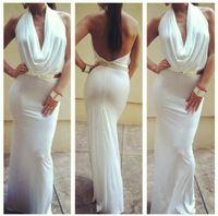 Elegant Halter White Mermaid Long Prom Evening Dresses 2014 Chiffon Pleat Backless Vestido De Festa Longo Formal Gown vestidos