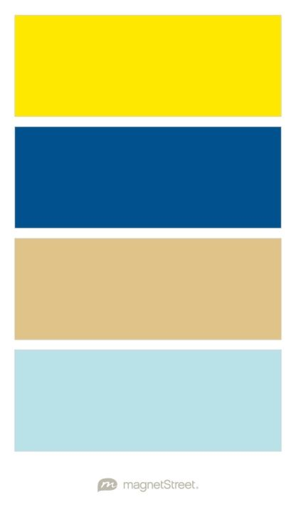 Weding Color Palette -- Sunshine Yellow (CMYK: 0,3,97,0), Royal Blue, Gold, and Powder Blue (CMYK: 29,0,9,0) - custom color palette created at MagnetStreet.com