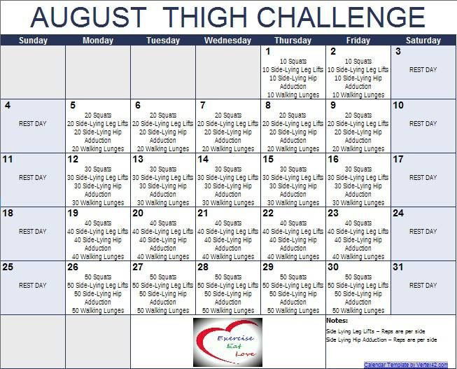 30 Day Thigh Challenge Calendar August thigh challenge! fitness ...