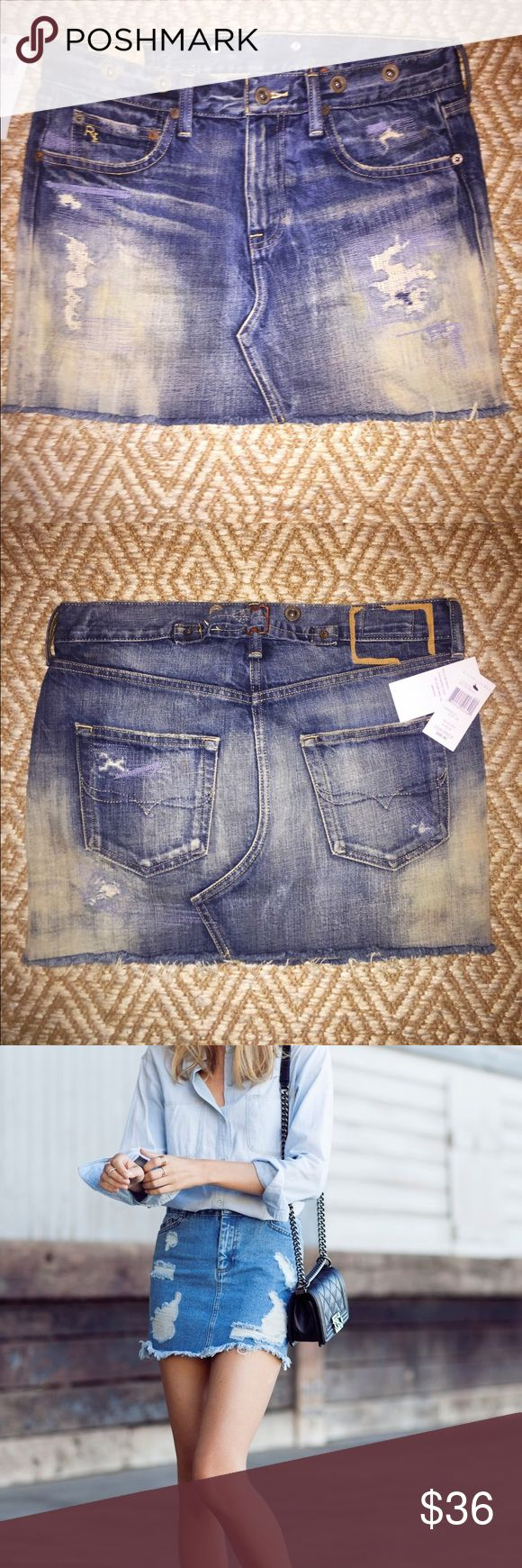 **Price Drop** Ralph Lauren Distressed Denim Mini The denim mini is making a come back! This is an awesome piece, distressed and weathered denim. Carpenter style hardware. Polo by Ralph Lauren Skirts Mini