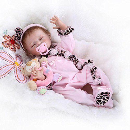 NPKDOLL Reborn Bambino Bambola Morbido Silicone Vinile 20 Pollici 50 Centimetri Magnetica Bocca Realistica Della Ragazza Del Giocattolo Vestito Rosa Farfalla Bambolina Doll A1IT