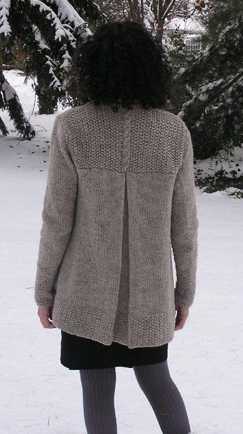 "This cardigan features long, lean lines, and a dramatic center-back pleat. The body is worked in one piece from bottom up to the armholes. The pleat is knitted in and bound-off. Separate pieces are worked for the back yoke, collar, and sleeves. The sleeves are knit in the round and sewn into the armhole.Finished Sizes- XS (S, M, L, XL, XXL) - Bust with cardigan held closed (two sides of shawl collar held touching each other, but not overlapping.) 33 (35, 37, 41, 46, 49)"" [84 (89, 94, 104…"