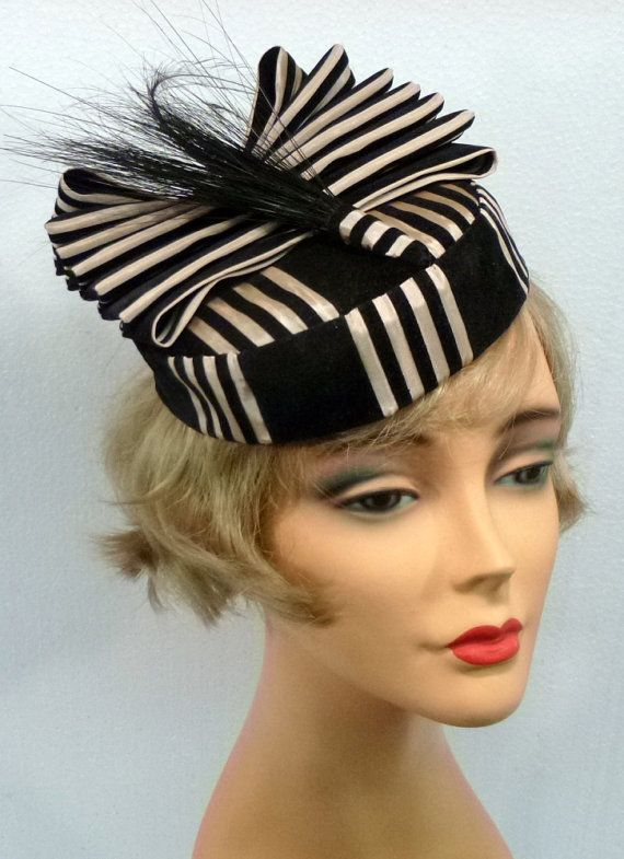 Black and White Striped Pillbox Fascinator by NouveauHatsbySharon, $145.00: Etsy Stuff, Pillbox Fascinators, White Everything, Black And White, Head Cases, Stripes Pillbox, White Stripes