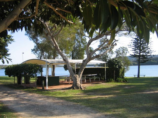 Homestead Caravan Park, Chinderah, NSW.  Camping on the river front complete with outdoor cooking and washing up facilities.