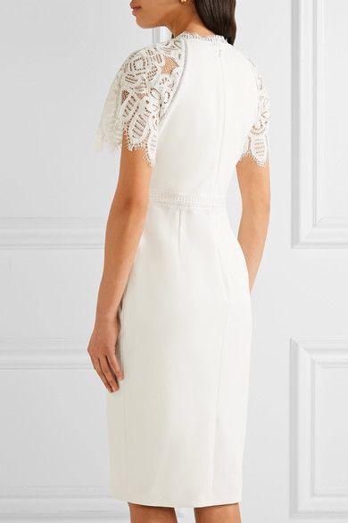 Lela Rose - Corded Lace-trimmed Crepe Dress - White - US12