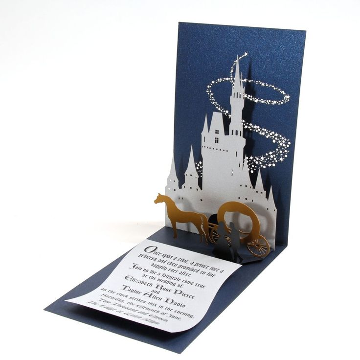 Custom Made Fairy Tale Pop-Up Wedding Invitation but I would use for a princess birthday party