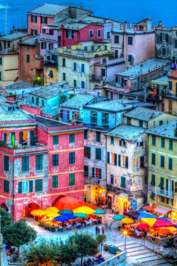 Colors at night - Manorola - Cinque Terre - Italy.