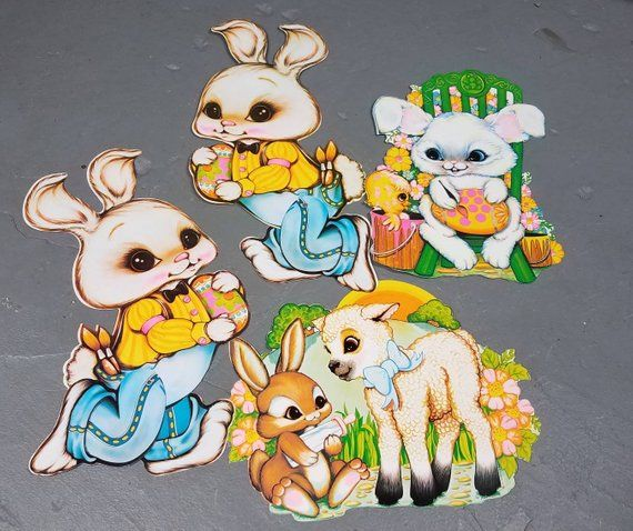 HolidaySale Vintage Beistle Happy Easter cut outs NEW Rabbit Eggs Bunny Spring Decorations 70s/80s diecuts
