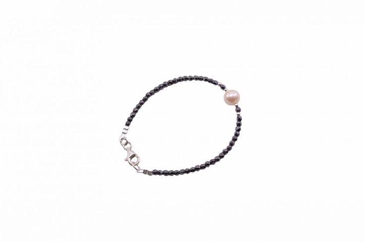 Βραχιόλι με αιματίτη και μαργαριτάρι - Bracelet with amethyst and pearl