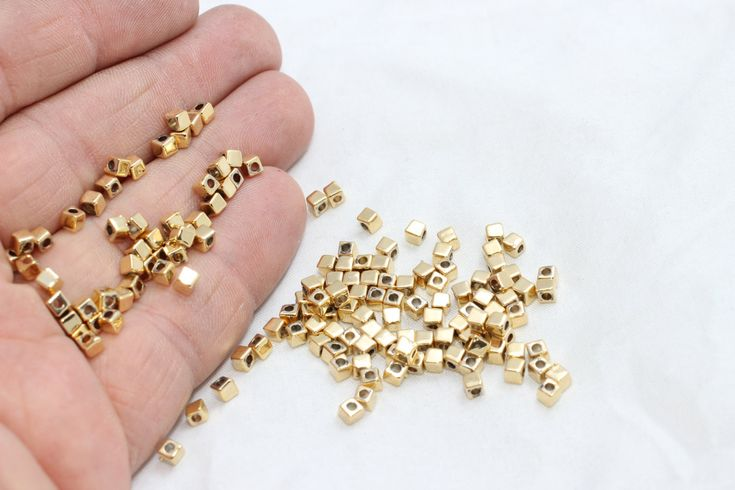 100 3x3mm Gold Plated Spacer Beads Spacer Beads от KJewelryMetal