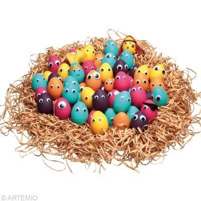 Bricolage pour Pâques Oeuf multicolore avec yeux rigolos