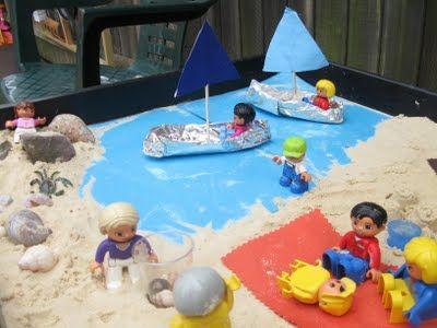 Beach themed sensory tray: Holidays/seaside