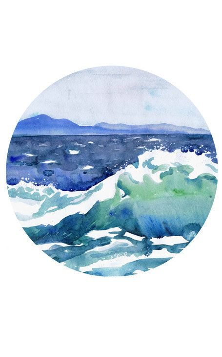 Ocean Painting Circle Art Wave Watercolor Landscape, Sky, Round Nautical Prints, Sea Abstract Seascape Surf Print, Blue Cloud Storm high quality fine art print of my original watercolor painting.