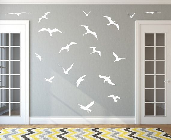 Seagulls Set of 18 Vinyl Wall Decals 22426 by CuttinUpCustomDieCut, $40.00