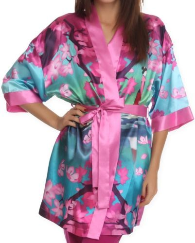Pretty new disney princess mulan silky satin robe womens juniors size l xl sleepwear - Robe jasmine disney ...