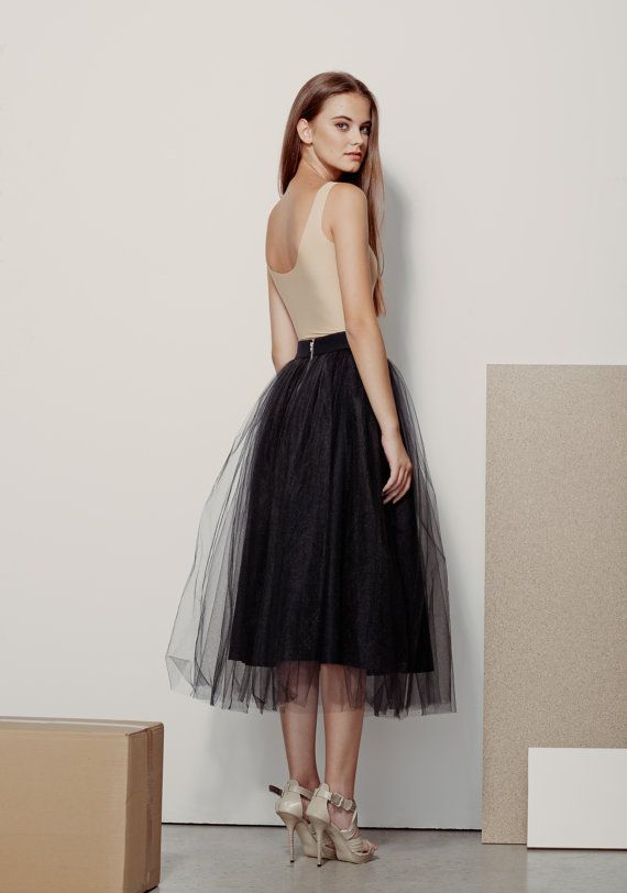 High Waisted Skirt / Wool Skirt / Black Tulle Skirt / Black - Best 25+ Black Tulle Skirts Ideas On Pinterest Black Tulle Skirt