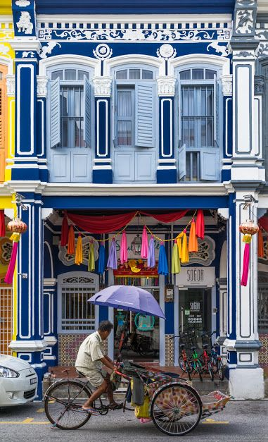 Shophouse architecture in Georgetown, Penang, Malaysia.