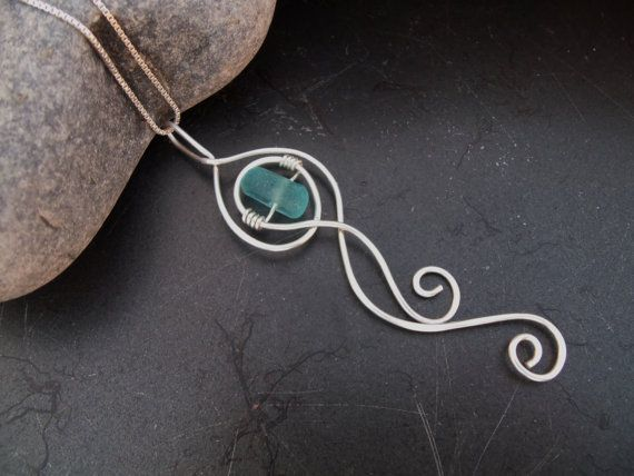"""Etsy.Sea glass jewelry,  Whimsical sterling silver """"ocean wave"""" necklace with blue sea glass nugget"""