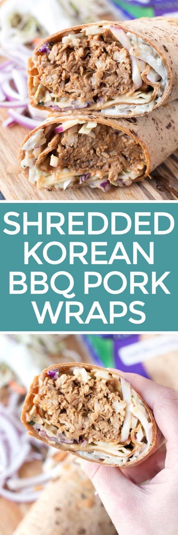 Shredded Pork Korean BBQ Wraps with Kimchi Slaw | cakenknife.com #sponsored #lunch #healthy
