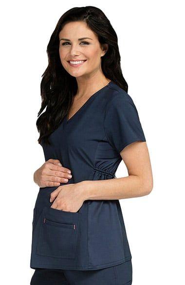 d8d031a4af9 Women's Maternity 4 Way Stretch V-Neck Solid Scrub Top   Pregnancy ...
