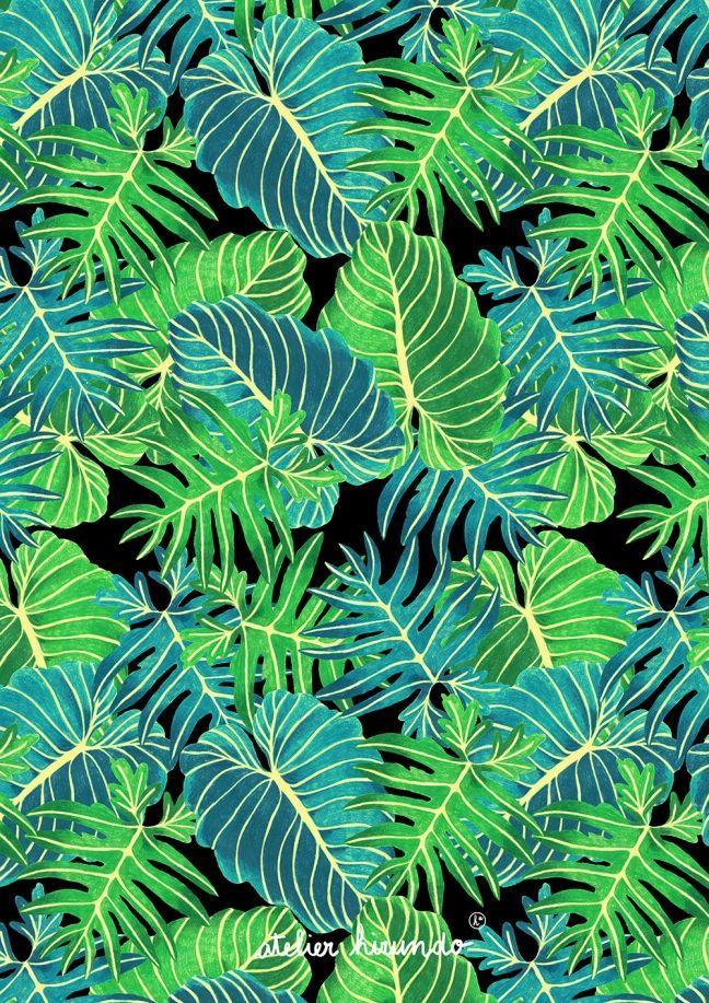 Atelier Hirundo / Elise Enjalbert / Copyright 2016 / #pattern #patterndesign #surfacedesign #illustration #motif #print #graphic #leaves #tropical #floral