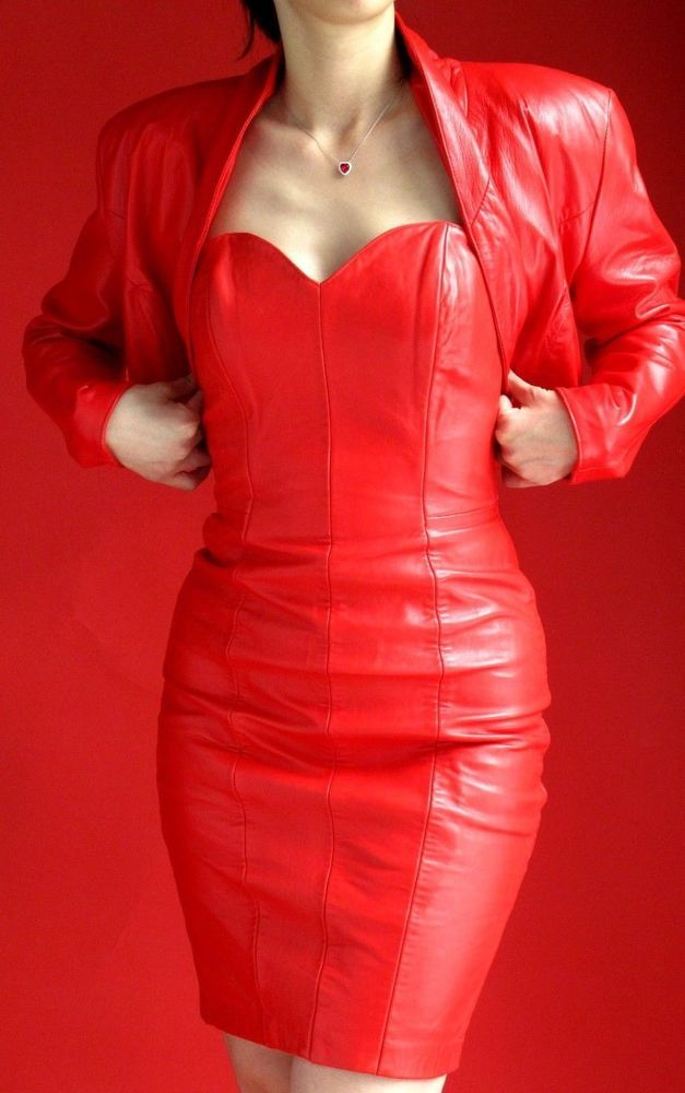 North Beach Red Leather Suit Cocktail Dress And Bolero