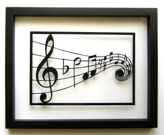 MUSIC Notes Silhouette Paper Cutout in Black by BoldFolds on Etsy