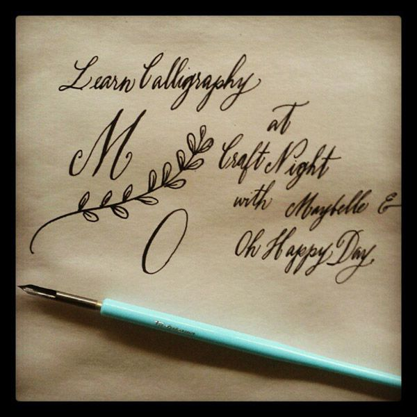 Maybelle Imasa Stukuls Calligraphy Craft Night At Oh Happy