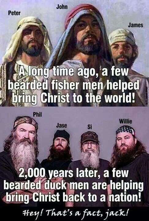 Duck Dynasty, took pop culture by storm.  You could not go into any store without seeing one of their faces!  The cool thing is every single episode shows a prayer scene.  The show has changed the common conception of Christians.