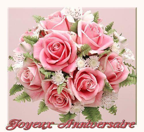 Joyeux Anniversaire Avec Bouquet De Roses Roses Alstroemeria