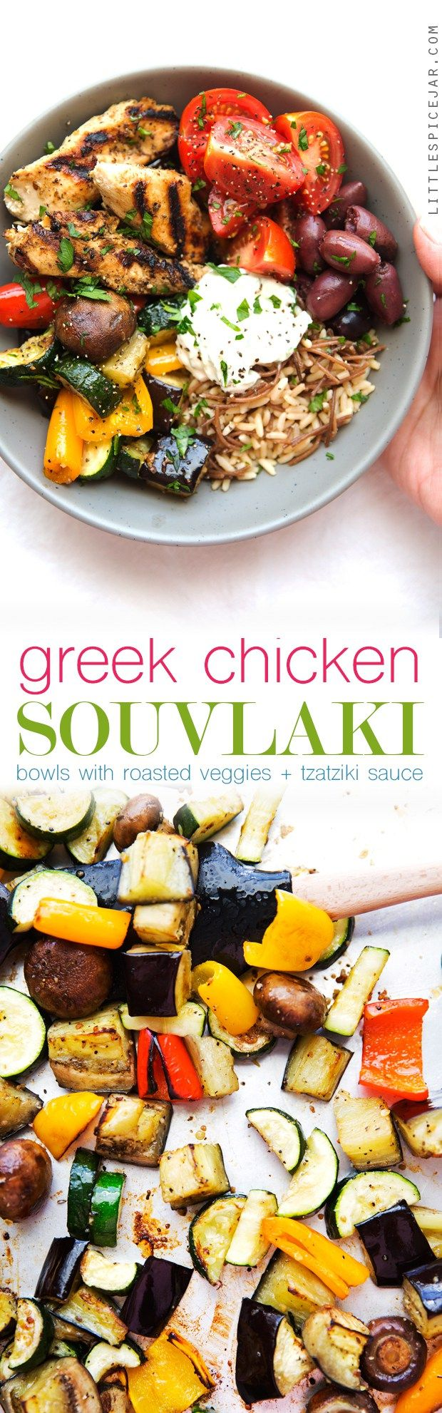 Greek Chicken Souvlaki Bowls with Roasted Veggies - A simple #mealprep meal made…