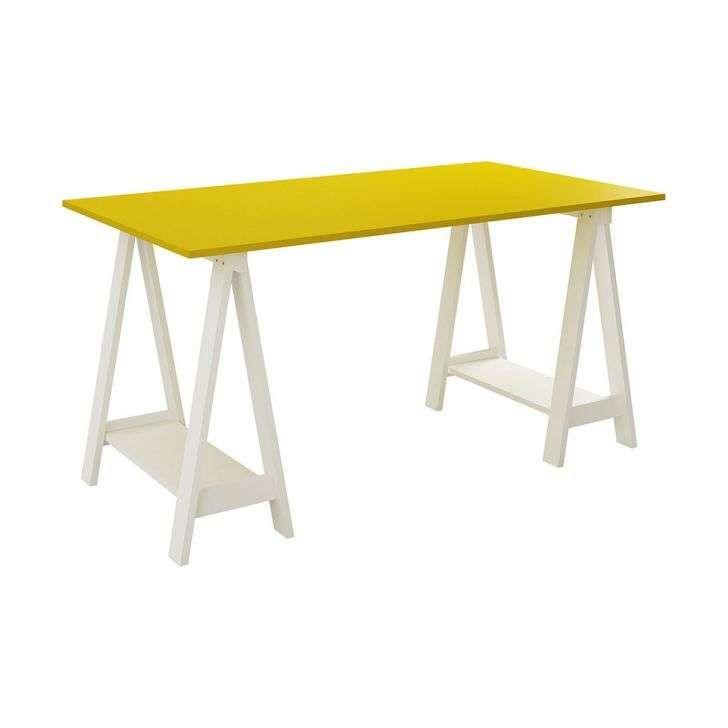 Mesa Escrivaninha Cavalete/Tampo Branco/Amarelo