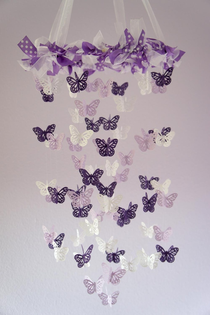 butterfly mobile purple lavender beautiful butterfly. Black Bedroom Furniture Sets. Home Design Ideas