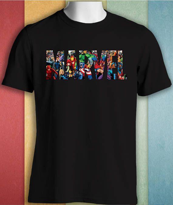 Marvel Superhero Comic Cartoon Characters Black T-shirt Men Woman Unisex Cotton