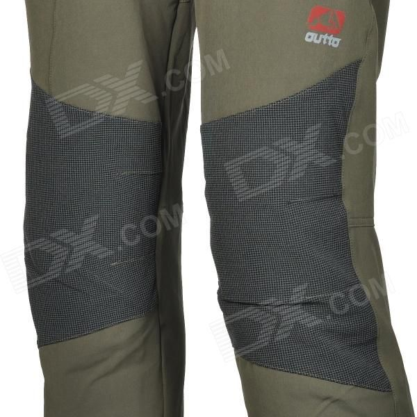 Outto Outdoor Sports Waterproof Polyester Pants for Men - Black + Army Green (L) - Free Shipping - DealExtreme