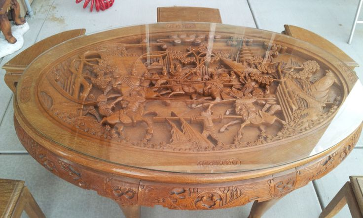 Chinese antique carved teak wood tea table with stools