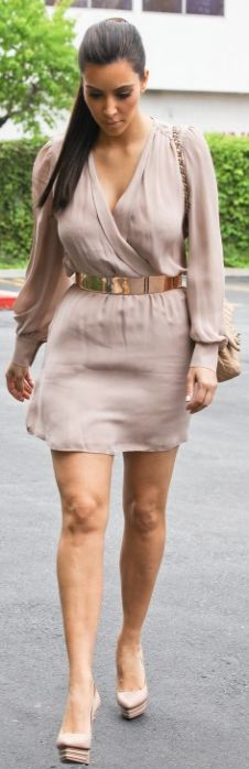 Who made Kim Kardashian's bluech long sleeve wrap dress, nude platform pumps, and quilted chain handbag?