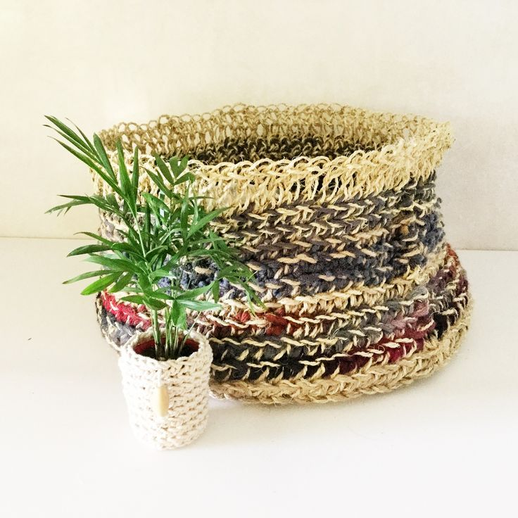 """""""Colourful"""" series large crochet basket! Some serious storage here!"""