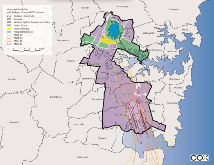 If the Western Sydney Employment Area were superimposed on the Kingsford-Smith Airport flight paths, then the first major residential area would be in North Ryde. Click to enlarge. (Source: Bob Meyer, A Sydney West Airport, p. 6)