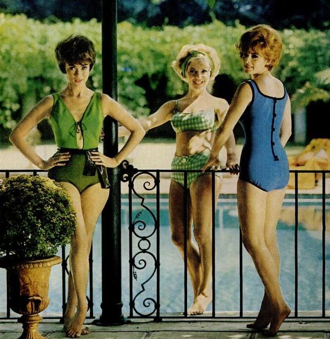 Carol Chistensen, Ruta Lee and Jill St. John modeling swimsuits at Harold Lloyd's estate in Hollywood.  LIFE Magazine, 1962.