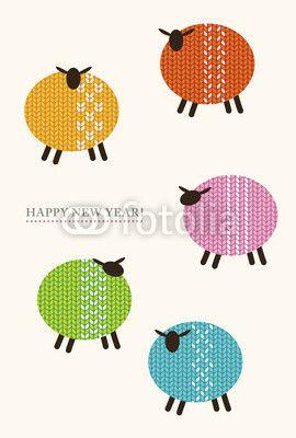 sheep//ベクター: 羊の年賀状点