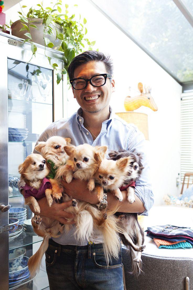 Keita Maruyama (fashion designer) at home with his pups