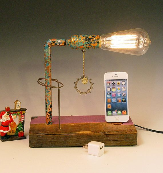iPhone, iPod dock AND table lamp. iPhone 3, 4, 5. Recycled wood. 3 way pull chain. Steam punk. Industrial. (329). $115.00, via Etsy.