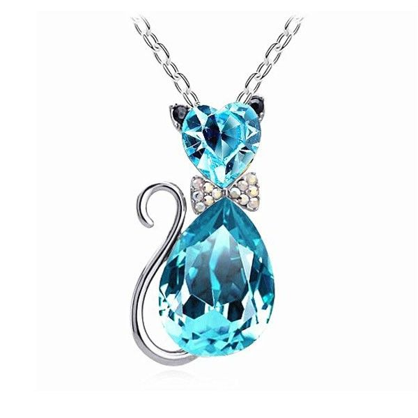 Fashion Woman Crystal Cat Pendant Necklace Jewelry