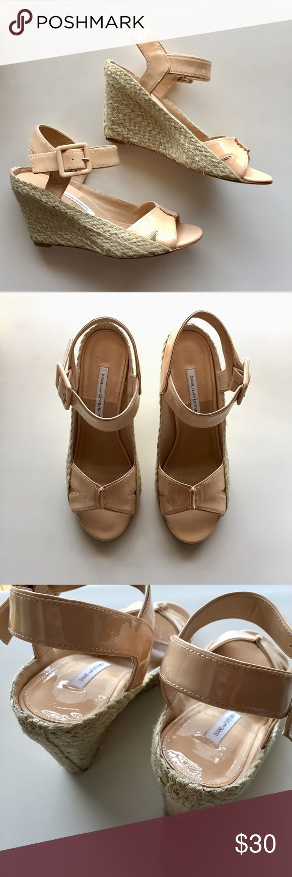 """DVF Nude Espadrilles Wedges Size 8 Hey y'all! Happy Shopping! 🎉 Re-POSH! I bought these a few weeks ago but they didn't fit me. They're a gently used pair of DVF espadrilles in patent leather. They're a beautiful nude/peach color. The upper leather and footbeds are in great condition but the soles show some wear. They're size 8 and I think they fit true to size except the toe area is narrow (which is why I'm selling them). Heel measures 3.5"""". Check out my closet for other items. Thanks…"""
